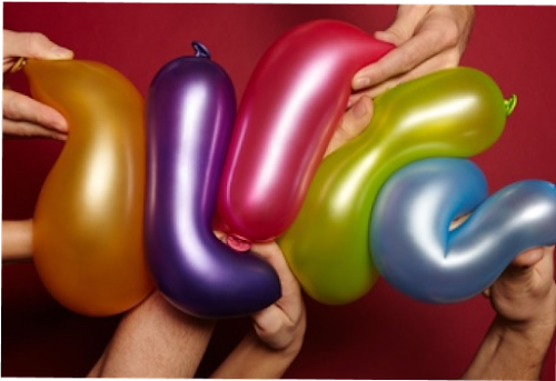 Five balloons being squished together