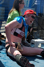 Photo: 37. Third place finisher Thomas Roos and many others cramped shortly after crossing the line.
