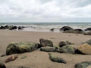 Photo: Ende Januar hatte sich alles geändert. Der ablandige Wind legte viele Steine frei.