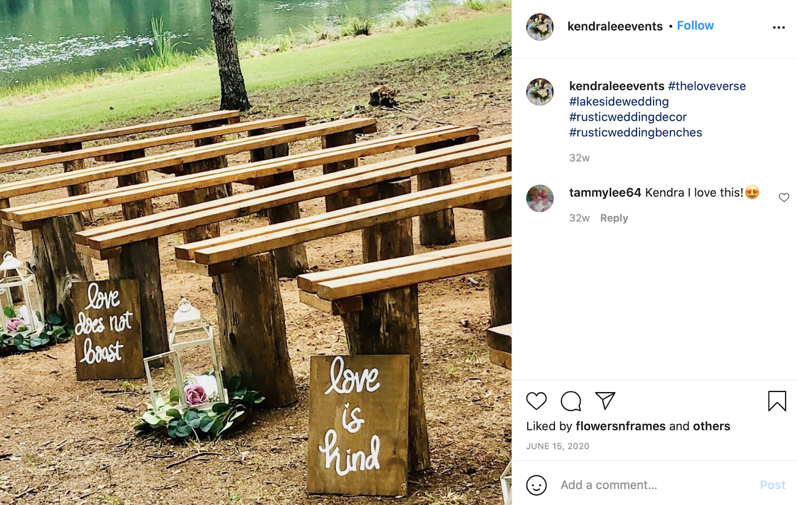 wood stumps and benches for seating at a wedding