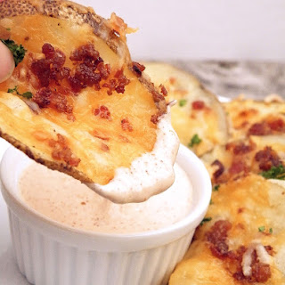 Cheesy Bacon Oven Chips with Chipotle Ranch Sauce.