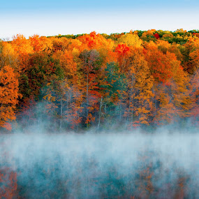 Early morning fog on the lake by Olivia Markonic - Landscapes Travel ( fall colors, colorful, fall, lake, early morning,  )