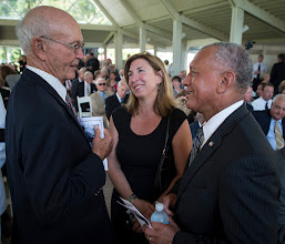 Photo: Apollo 11 Astronauts Michael Collins, left, NASA Deputy Administrator Lori Garver and NASA Administrator Charles Bolden, right, talk at a private memorial service celebrating the life of Neil Armstrong, Aug. 31, 2012, at the Camargo Club in Cincinnati. Armstrong, the first man to walk on the moon during the 1969 Apollo 11 mission, died Saturday, Aug. 25. He was 82. Photo Credit: (NASA/Bill Ingalls)