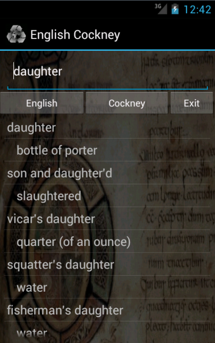English Cockney Dictionary- screenshot