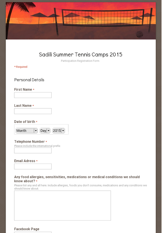 Sadili Summer Tennis Camps 2015