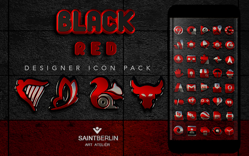 Black Red HD Icon Pack Screenshot