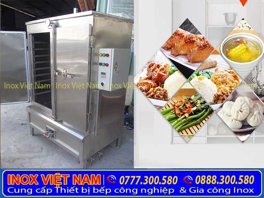 tủ nấu cơm công nghiệp 120kg, tủ nấu cơm 24khay