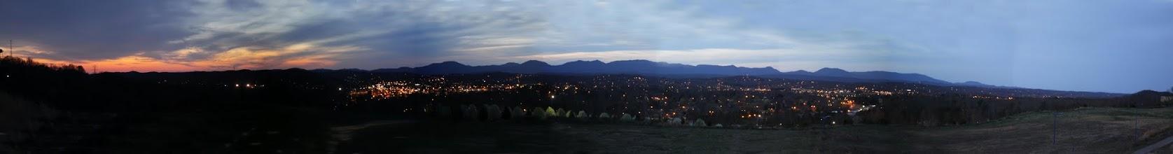 Photo: Oak Ridge at nightfall just after sunset from Oak Ridge Summit on Pine Ridge - 90 MM lens setting