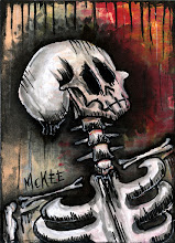 """Photo: Calaveras no. 56. 2.5/3.5"""" or 6/9 cm.  Mixed medium on archival paper.  Signed and sealed.  ©Marisol McKee"""