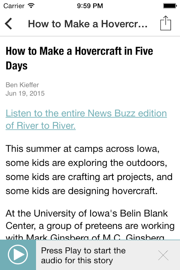Iowa Public Radio App- screenshot