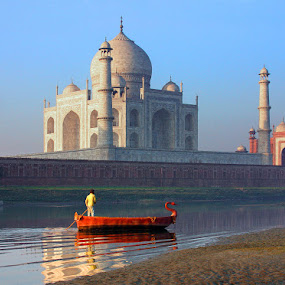 An Early Boat by Sami Ur Rahman - Buildings & Architecture Public & Historical ( jamuna river, taj mahal, wonder-of-the-world, reflections, boat )