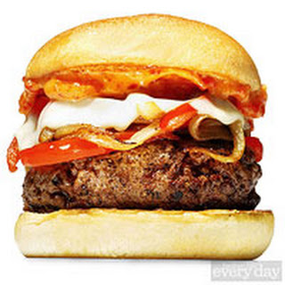 Spike Mendelsohn's Double-Peppers and Onions Burger