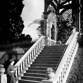 Bride and groom on steps by Andy Cain - Wedding Bride & Groom ( love, black and white, wedding, castle, bride and groom, steps, romance )