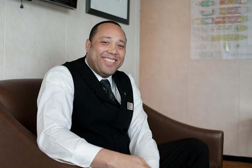 Anjoid-Fabian-Hurst-on-Celebrity-Infinity - Anjoid Fabian Hurst, a waiter aboard Celebrity Infinity.