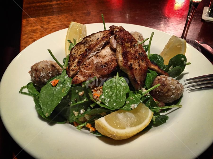 chicken salad by Vibeke Friis - Food & Drink Plated Food ( salad, chicken, food, lemon )