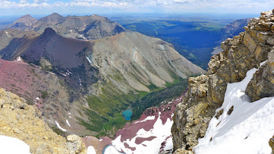 Photo: Looking down from Mt. James - North Fork of Cut Bank Creek flows out onto the Blackfeet Reservation. Cut Bank Creek Campground (where I started the hike) is just right of center. (exactly 200 miles from Helena)
