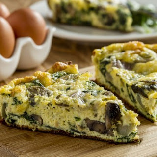 Frittata with Spinach, Mushrooms & Cheese