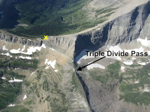 """Photo: The difficult part of getting to the summit of Triple Divide Peak is getting from the pass to point """"X""""."""