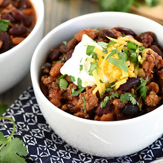 Slow Cooker Beefy Three-Bean Chili.