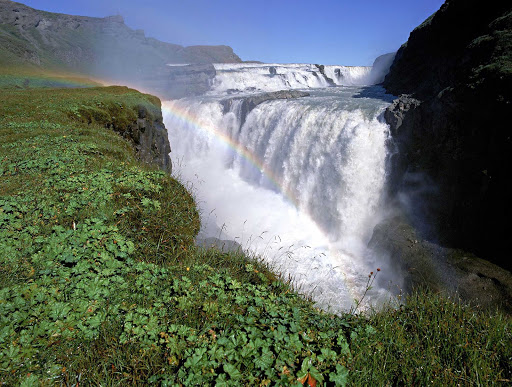 Iceland-waterfalls.jpg - Gullfoss, a waterfall  in the canyon of the Hvítá river in southwest Iceland, is one of the most popular sites for tourists to visit.