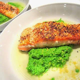 Seared Salmon on Mushy Peas.