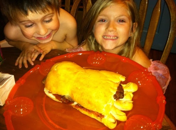 This foot is on a big Halloween Platter!  Ashton and Evie were really having fun with this meal...