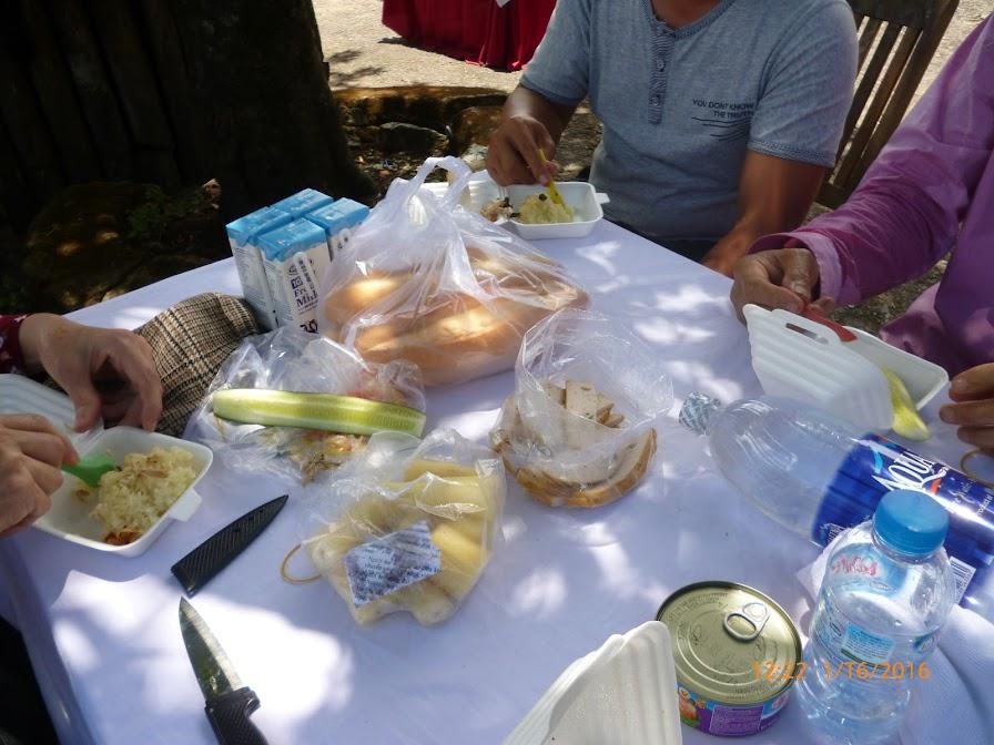 bữa trưa fasfood ngoài trời dưới tán cây, đầy gió mát và tiếng chim.