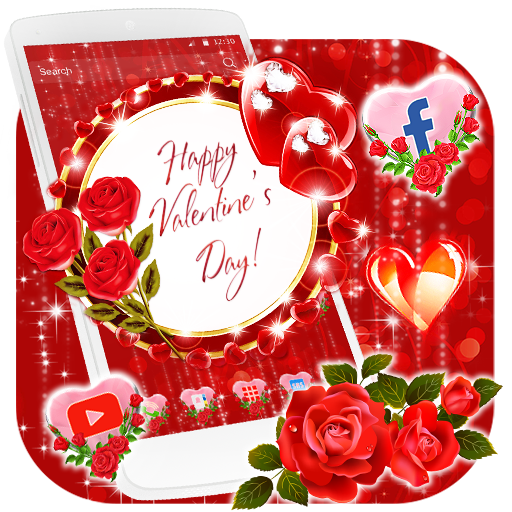 Valentine Rose Themes HD Wallpapers 3D icons