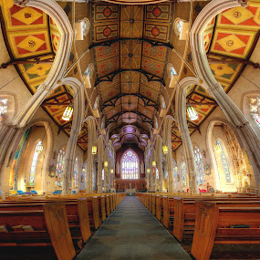 St. Michael's Cathedral by Roland Shanidze - Buildings & Architecture Other Interior ( extreme wide angle, vertorama, church, hdr, st. michael's cathedral, roland shainidze, toronto, architecture, architecture interior, distortion, wide angle, perspective, symmetry )