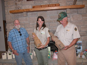 Photo: National Park Volunteers and me showing off a reconstructed bee coursing box for interpretation/museum use at the park.  Summer 2010 Cultural Resources Diversity Internship at Ozark National Scenic Riverways in Missouri.