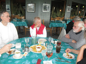 Photo: Ed, DJ, and Courtenay enjoy our last luncheon.