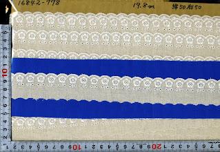 Photo: №16842-778綿50麻50レース:巾32mm