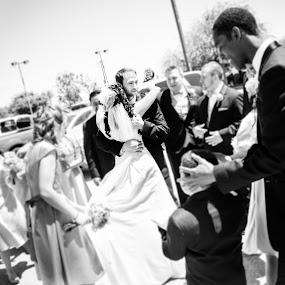 The Groom and his Bride by Kevin Kent - Wedding Bride & Groom ( love, b&w, wedding, hugging, outdoor, bride, groom )