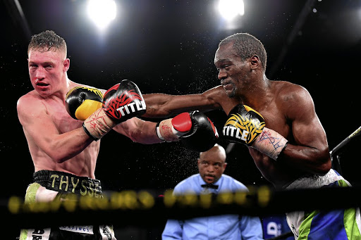 Nkululeko Mhlongo, right, last fought in September when he stopped Brandon Thysse in 10 rounds at Emperors Palace in Kempton Park.