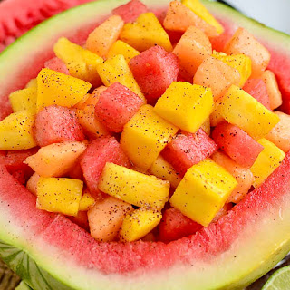 Tropical Fruit Salad with Chili-Lime Dressing.