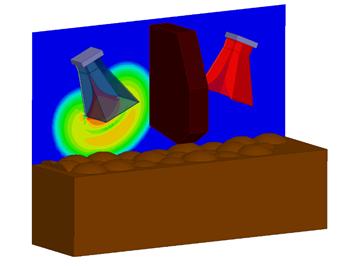 ANSYS Пример применения модуля HFSS Transient для расчёта нестационарных электрических полей, возникающих при работе георадара, который ловит отражения электромагнитных импульсов от объектов, скрытых под поверхностью.
