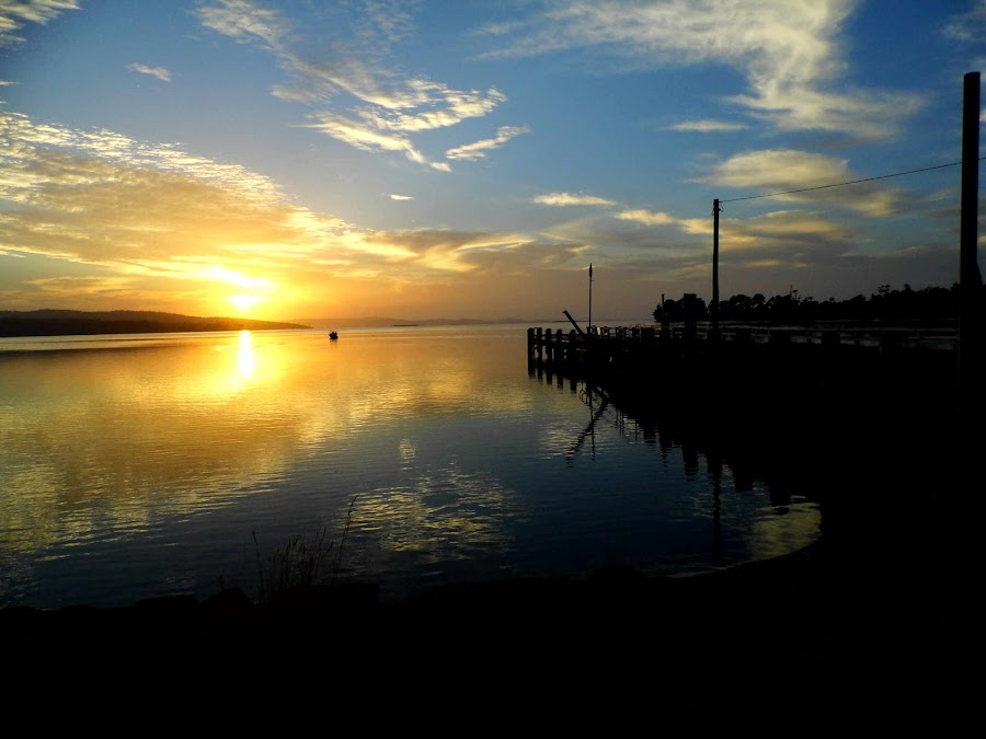 First Light by Anne Andrews - Novices Only Landscapes ( clouds, water, first light, tasmania, clear skies, ocean, fishing, woodbridge, sunrise, golden )