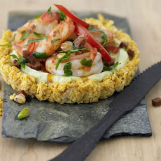 Avocado Tartlet with Prawns and Chorizo
