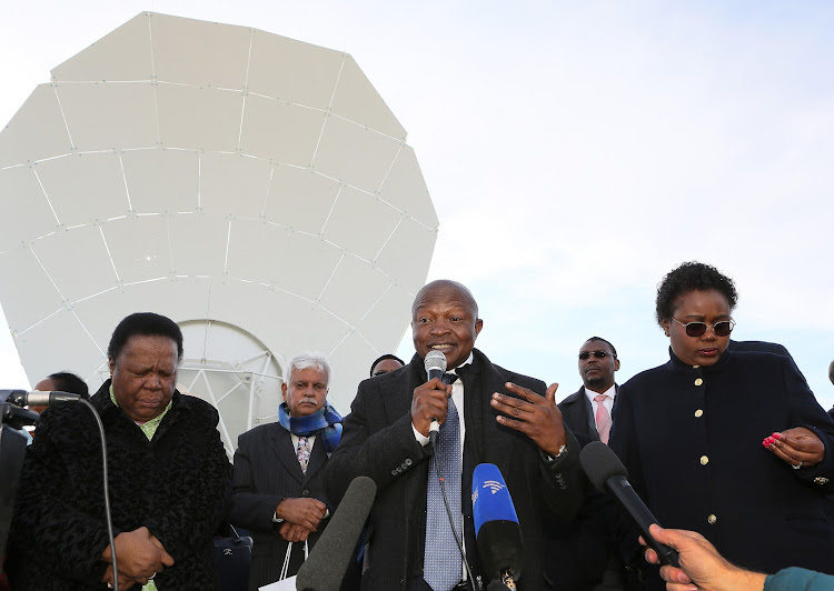Deputy President David Mabuza, Minister of Science and Technology Mmamoloko -Ngubane and Minister of Higher Education Naledia Pandor at the launch of the MeerKAT radio telescope in the Northern CVape on July 13 2018