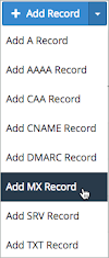 Add MX Record is selected on the Add Record drop-down list.