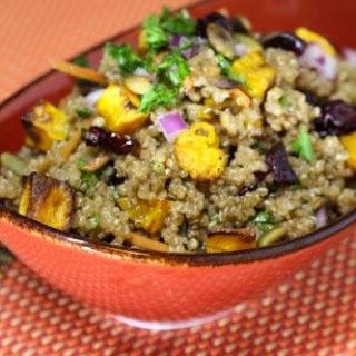 Quinoa Salad with Roasted Butternut Squash and Pumpkin Honey Mustard Vinaigrette