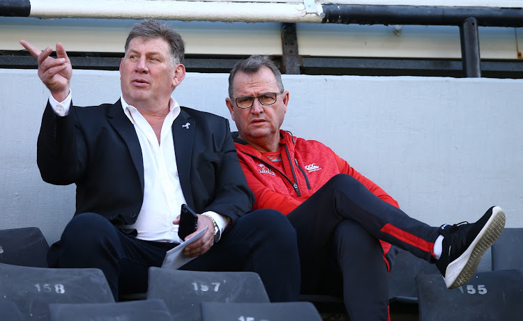 Lions CEO Rudolf Straeuli with Swys de Bruin (head coach) of Emirates Lions during the SuperSport Rugby Challenge match between Cell C Sharks XV and Xerox Golden Lions XV at Jonsson Kings Park Stadium on June 30, 2018 in Durban, South Africa. Pictrure: GALLO IMAGES/STEVE HAAG