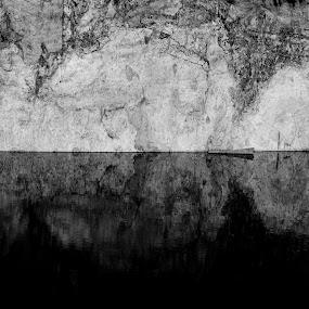 Simetria #1 by Miguel  Galvão - Abstract Fine Art ( black and white granite reflex water simetric patterns rock granite miguel galvão art fine photography )