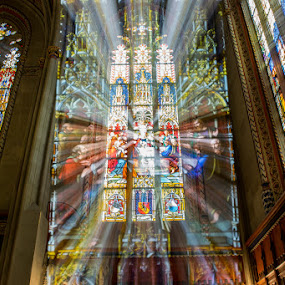 Glass Trail by Carlos Kiroga - Artistic Objects Glass ( old, church, colors, zoom, long exposure, old building, photo, light, stained glass, photography, filter )