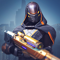 Human and steel. Sci-fi tactical action icon