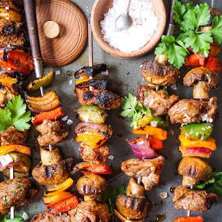 Marinated & Grilled Lamb (or steak) Shish Kabobs.
