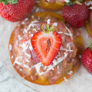 Strawberry Rhubarb Upside Down Cakes