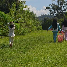 Litlle Fishergirls by Azzah Rahman - Babies & Children Children Candids ( little girls, janda baik, village, fishing, school holidays )