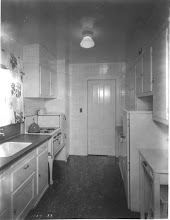 Photo: Lillian Moller Gilbreth's design for a 1930's model kitchen. I recall reading in one of her childrens' books, that their mother's kitchen at home was still a large rambling Victorian looking one because that was the way her old cook liked it.