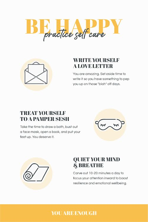 Be Happy Self Care - Pinterest Pin Template